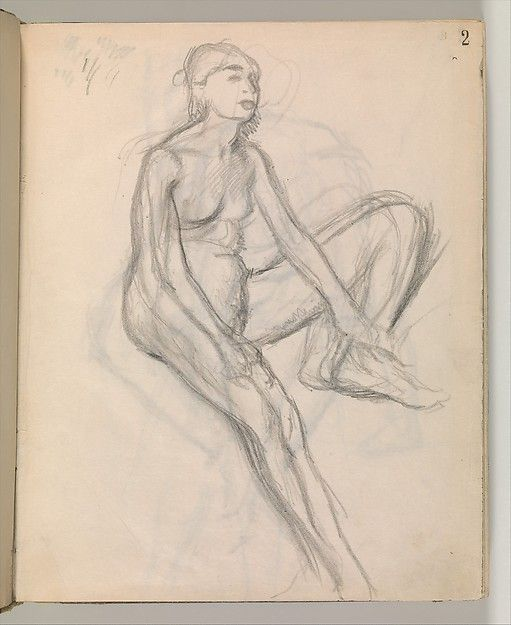Album of Forty-five Figure Studies, Edgar Degas (French, Paris 1834–1917 Paris), Black chalk on thin, eggshell paper