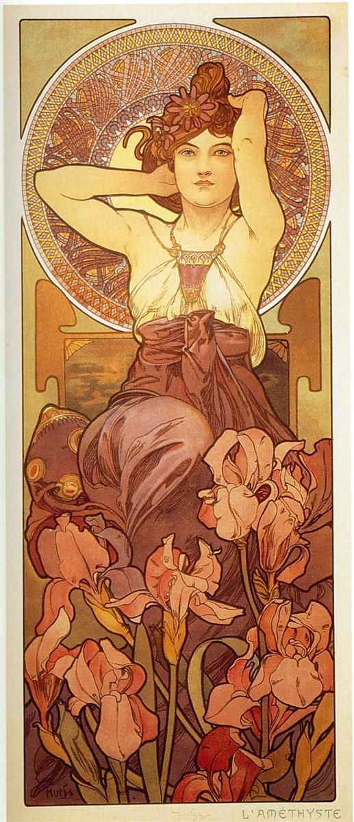 Alfons Maria Mucha(24 July 1860 – 14 July 1939), often known in English and French as Alphonse Mucha, was a Czech Art Nouveau painter and decorative artist - Amethyst