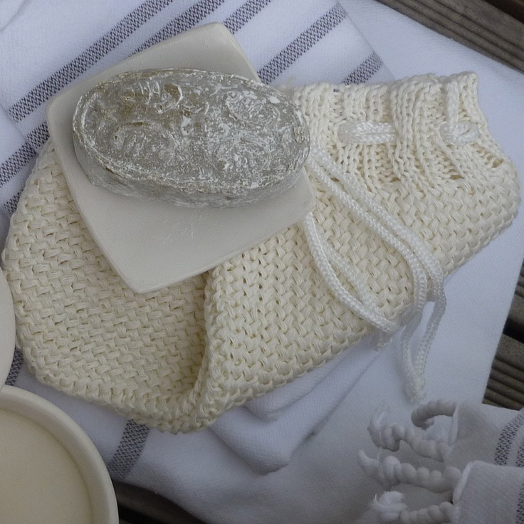 Seife 'Harem' und 'Kese' aus Leinen (Peelinghandschuh) #schoenebeute #Ghanin #Seife #Hamam Accessoires