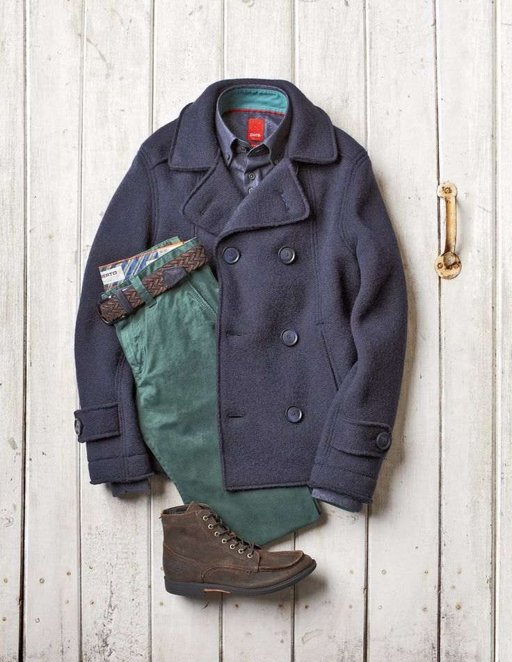 Fall Casual Looks - especially love the green twill pants and the peacoat