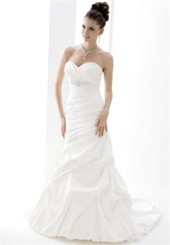 Angel Tradition Wedding Dress Gown White Mermaid Style With Bust Beading Detail Strapless Sweetheart Neckline And Ruched Skirt