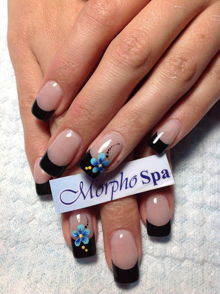 Puntas Negras Con Flor Uñas Nails Nail Art Y Nail Designs