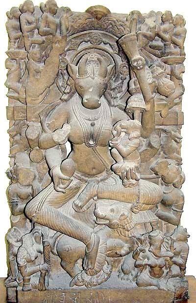 """Vrishabha"" means ""bull,"" in this case the female counterpart of Nandi, holding Ganesh. Indian Museum, Kolkata #ganesha #nandi"