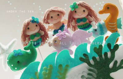 Mermaid (boy or girl) with 3 Under the Sea Friends (set of 4) -  Party Favors, Cake Topper, Beach Pool Party decor,  Baby Shower, Birthday