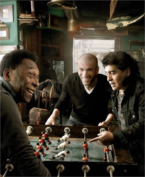 Pele - Zizou - Maradona = Best Players of all time who used Brain, Passion & Skills playing the beautiful game soccer.