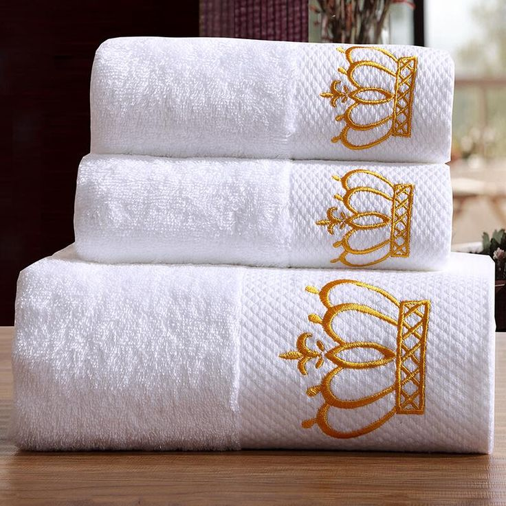 3-Pieces Embroidered Crown White Hotel Towels 600g Cotton Towel Set Face Towels Bath Towel For Adults Washcloths High Absorbent