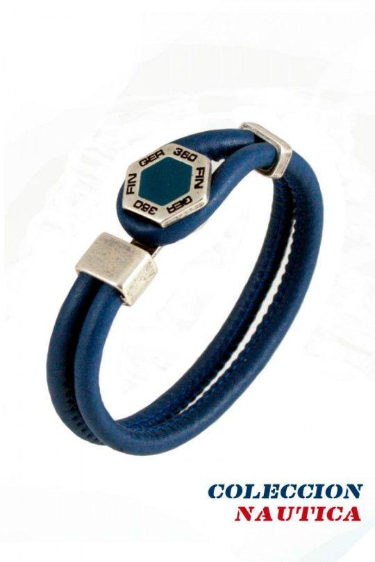 #Pulsera #Brazalete #Complemento #ideal #mujer #Coleccion #nautica #cuero #autentico #azul #plateado #cuerda #redonda #Finger360