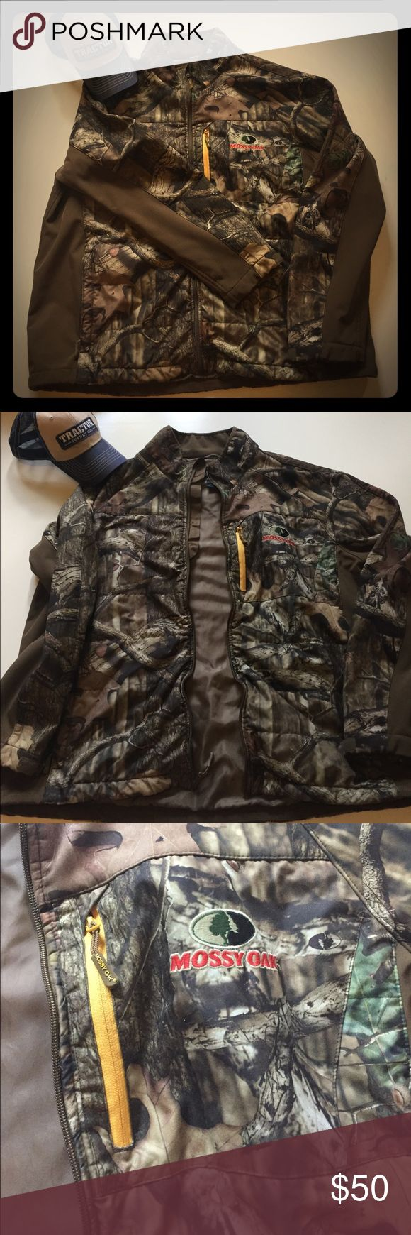 NWOT Men's Missy Oak Jacket This warm winter jacket doesn't get much use as we live in Florida. I don't know that he has ever worn it. It is break-up mossy oak with brown side trim, and yellow on the zipper of the front pocket. It's in excellent condition! I don't trade, but feel free to make an offer! Mossy Oak Jackets & Coats