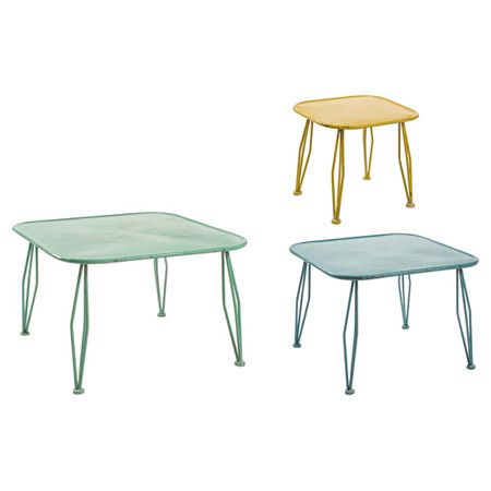 Equally at home adding colour to your child's playroom or enhancing your industrial living room, this set of three iron tables are finished in colourful tone...