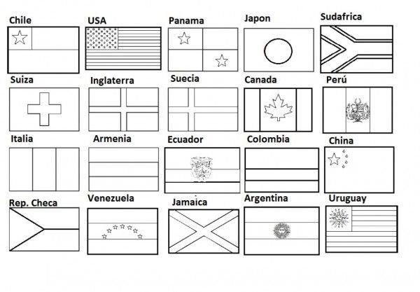 Banderas para colorear e imprimir  banderas  Pinterest