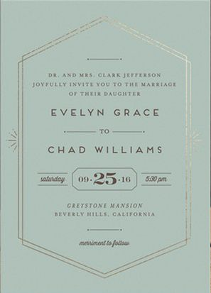Golden Glamour Wedding Invitation Sweet from Minted - Love this simple yet rich art deco inspired stationery.