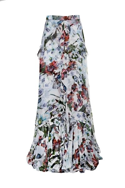 Erdem sheer long skirt with floral print, ruffled details, concealed hook and zip fastening in the back   The model is 1,75m tall and is wearing size 36
