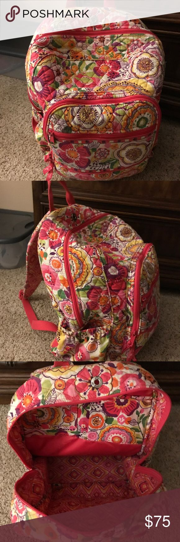 Vera Bradley Full Size Backpack This could fit all your books for school! Plus, it's super soft❤️ Used a few times before. Only flaws are a few signs of wear and 2 super small tears in the fabric (see pics). Let me know if you want any more pics!! **Comes from a house with pets** I don't do trades. Vera Bradley Bags Backpacks
