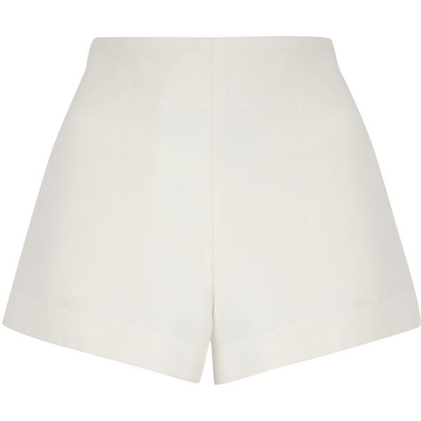 Jane Norman Cream High Waist Formal Shorts ($19) ❤ liked on Polyvore featuring shorts, cream, jane norman, highwaisted shorts, short shorts, formal shorts and cream high waisted shorts