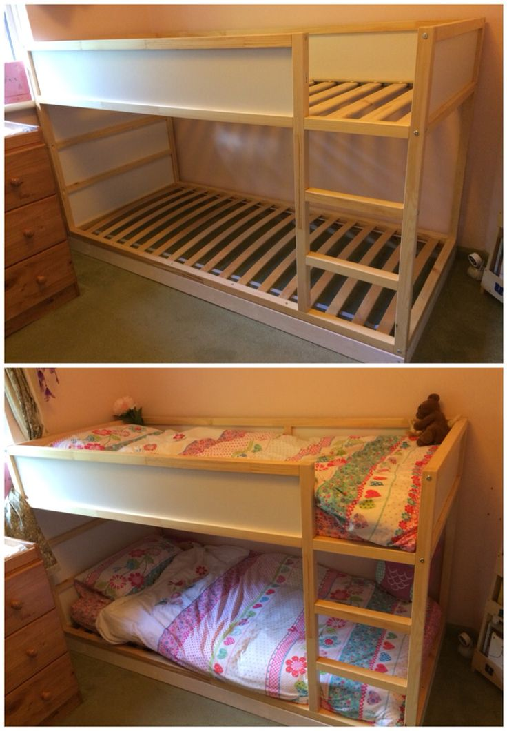 Phase one of the customised Kura bed. Raised the lower section slightly and added bed slats to make it a proper bunk bed. Lower than a normal bunk bed as our girls are still young.