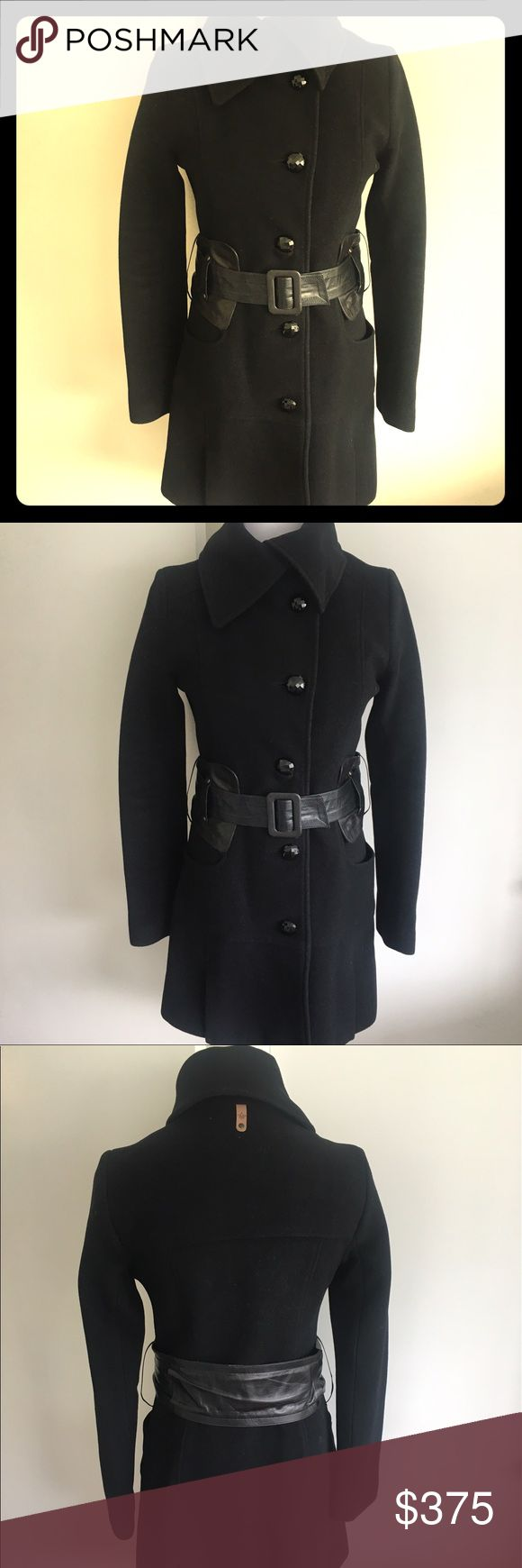 Mackage Wool Coat Soft wool with genuine leather belt and black jewel buttons; barely worn, no signs of wear, like-new condition; smoke/pet free home Mackage Jackets & Coats