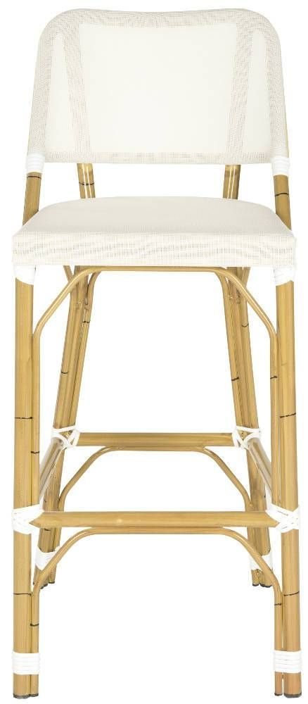 """<table border=""""0"""" cellspacing=""""0""""><tbody><tr><td>Designed with casual tropical vibe, the beige Deltana indoor-outdoor barstool by Safavieh is styled with classic wrapped detailing on its faux bamboo frame. Crafted of PE wicker and aluminum, this transitional barstool is easy care, weather resistant and equally pretty at a kitchen or patio counter.</td></tr></tbody></table>"""