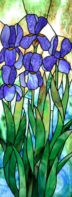 Alice's Irises Stained Glass by David Kennedy