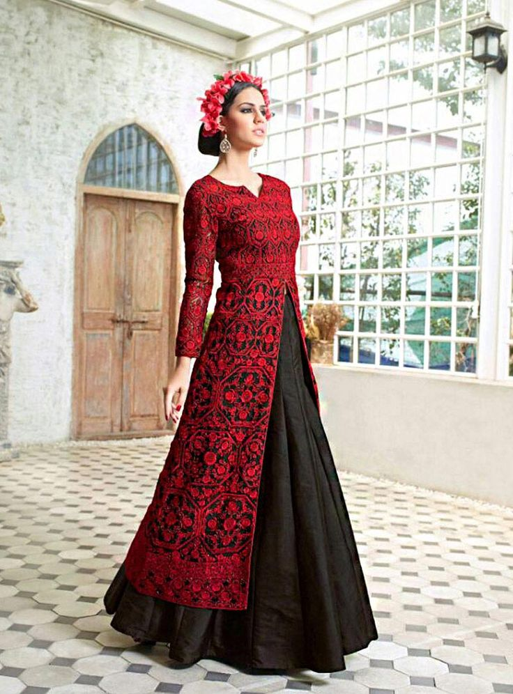 Buy Black Silk Indo Western Lehenga Choli 71548 online at lowest price from vast collection at m.indianclothstore.c.