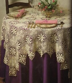Purple under antique lace tablecloth. Would prefer this with a soft shade underneath, preferably light lavender. That would be ideal. Or soft yellow: http://www.lasplash.com/uploads//1/ritz_afternoon_tea_london_5.jpg Think Marie Antionette colours.