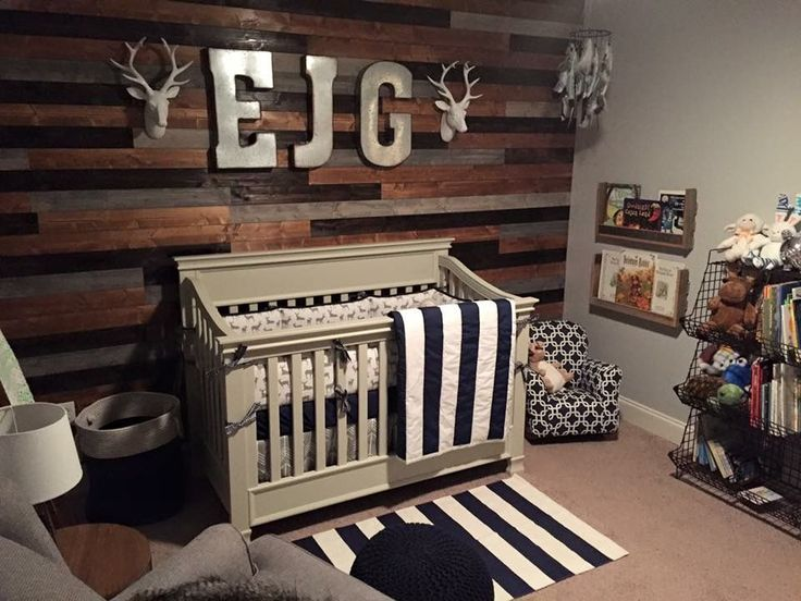 The ever popular woodland themed wood palette wall nursery.