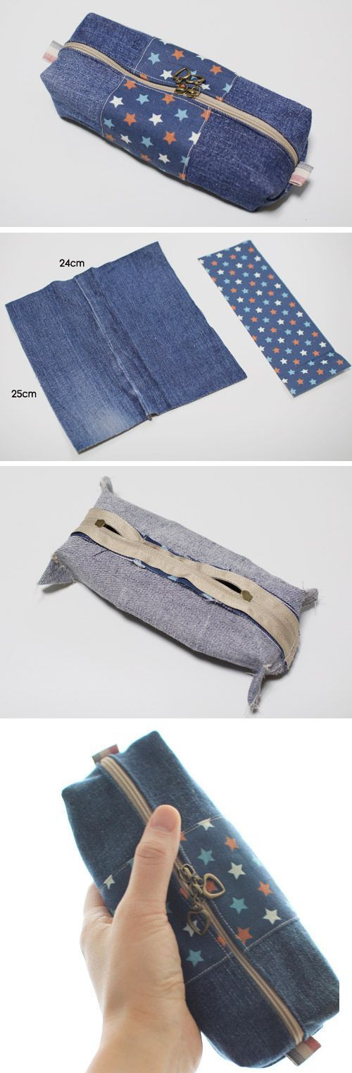 How to make zippered denim pencil case DIY step by step tutorial instruction. http://www.handmadiya.com/2015/10/zipper-pencil-case.html