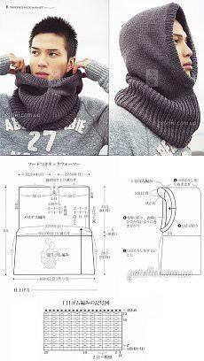 Вязаный мужской снуд / шапка-капюшон спицами.