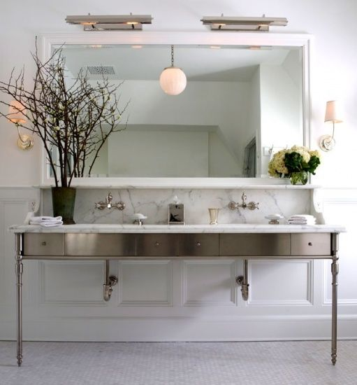 Vanity mirror library lamps flushmount air vent return - Double sink bathroom decorating ideas ...