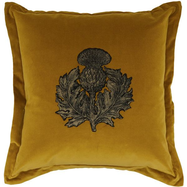 Timorous Beasties Gold Thistle Velvet Cushion found on Polyvore