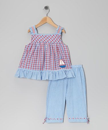 This Blue & Red Gingham Sailboat Top & Capri Pants - Infant & Toddler is perfect! #zulilyfinds