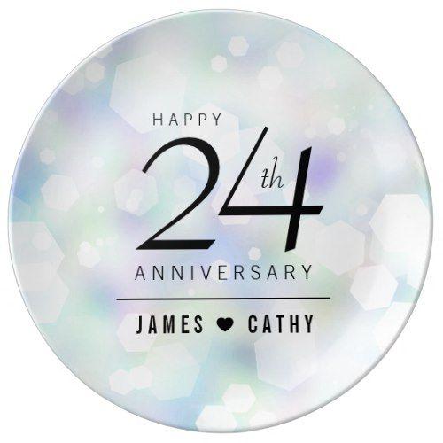 Elegant 24th Opal Wedding Anniversary Celebration Porcelain Plate - anniversary gifts ideas diy celebration cyo unique