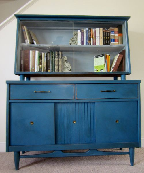 Mid Century, Painted Hutch, Painted Buffet, Book Case, ASCP, Distressed