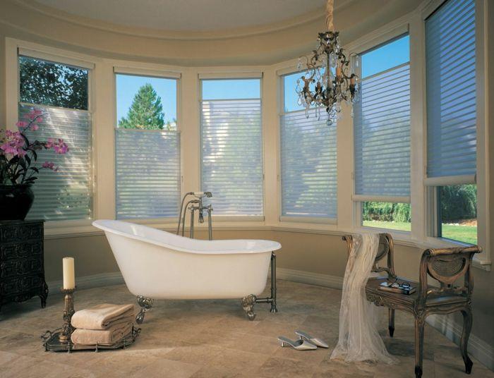 Fenster Sichtschutz Fensterrollos Jalousien Hunter Douglas Badezimmer  Krallenfußbadewanne