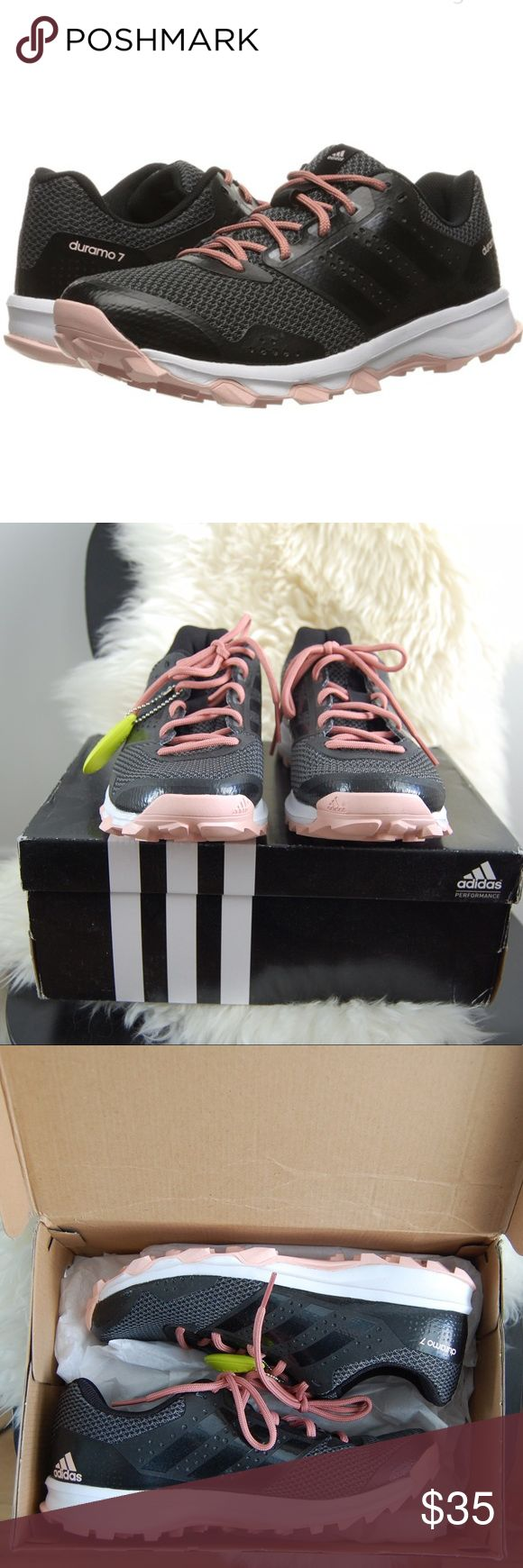 adidas women's Durano trail running shoe - 7.5 NWT Durano trail running shoes in black/light pink. Box is a little beaten up - thanks UPS ;) Adidas Shoes Sneakers