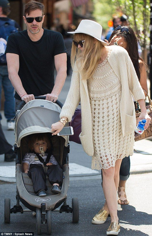 An expectant Jaime King so pretty in a white crochet dress and matching oversized knit cardigan (NYC, May 2015)