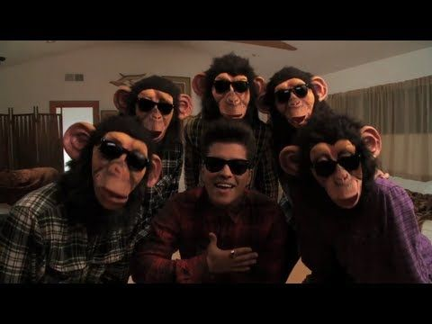 [Bruno Mars - The Lazy Song]  : Bruno Mars' music video gives monkeys a fun and playful perception as humans in monkey masks dance and sing about the joys of a lazy day with no responsibilities.
