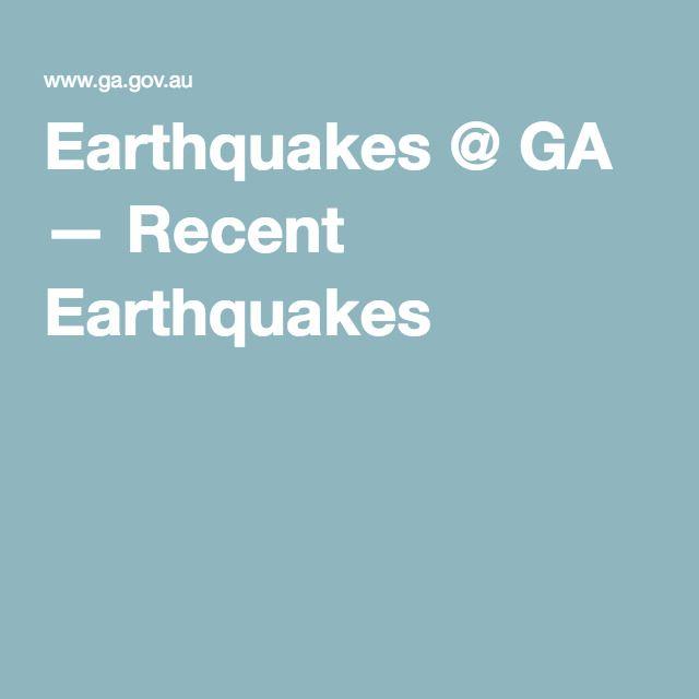 Recent Earthquakes Map - Geoscience Australia