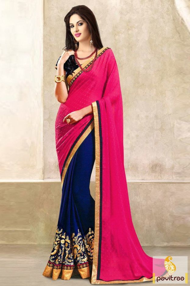 A pretty pink cobalt blue party wear saree with jacquard and chiffon fabrics. It is ideal for occasion and diwali. It is decorated with golden threaded embroidery. Rs 1870