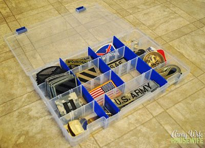 Army Wife Tip: store uniform patches/buttons/medals in a tackle box