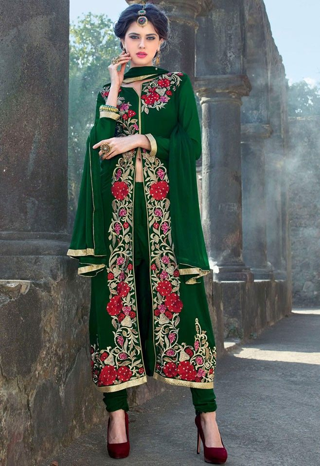 49fede35ba Green Georgette Churidar Kameez with Dupatta - #Eid-Fashion-2016 | Eid  Collection 2016 | Anarkali suits, Achkan, How to wear