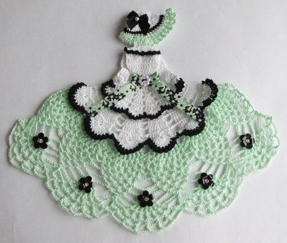 Crinoline Lady Hand Crochet Doily in Mint Green & by designedbyl