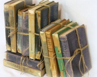 Items similar to Green Books, Shabby Chic Book Set, Wedding Decor, Vintage Decor, Book Stack, Rustic Books, Old Books, Centerpiece, Instant Library on Etsy