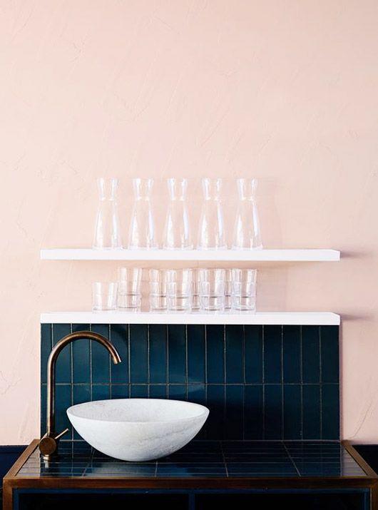 blush wall with deep blue tile backsplash. / sfgirlbybay love this colour combo