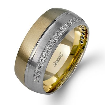 Men's Collection - This stunning 14K white and yellow gold band is comprised of .25ctw round white Diamonds.  - LL120