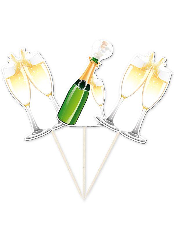 Cocktailprikkers champagne. Houten prikkers van ongeveer 10 cm met daarop champagneflessen- en glazen van karton. Verpakt per 10 stuks.