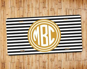 Black and White Stripes with Gold Monogram License Plate - Personalized Car Tag - Monogram License Plate - Car Accessories -  Pretty Car Tag