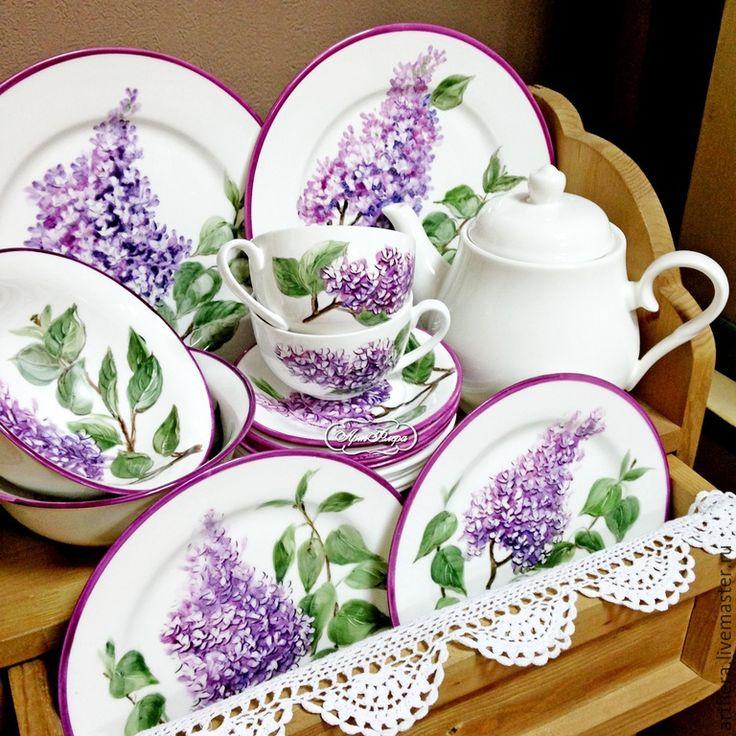 """Купить Сервиз """" Сирень лиловая """" - сиреневый, сервиз, чайная пара, тарелка, тарелки"""