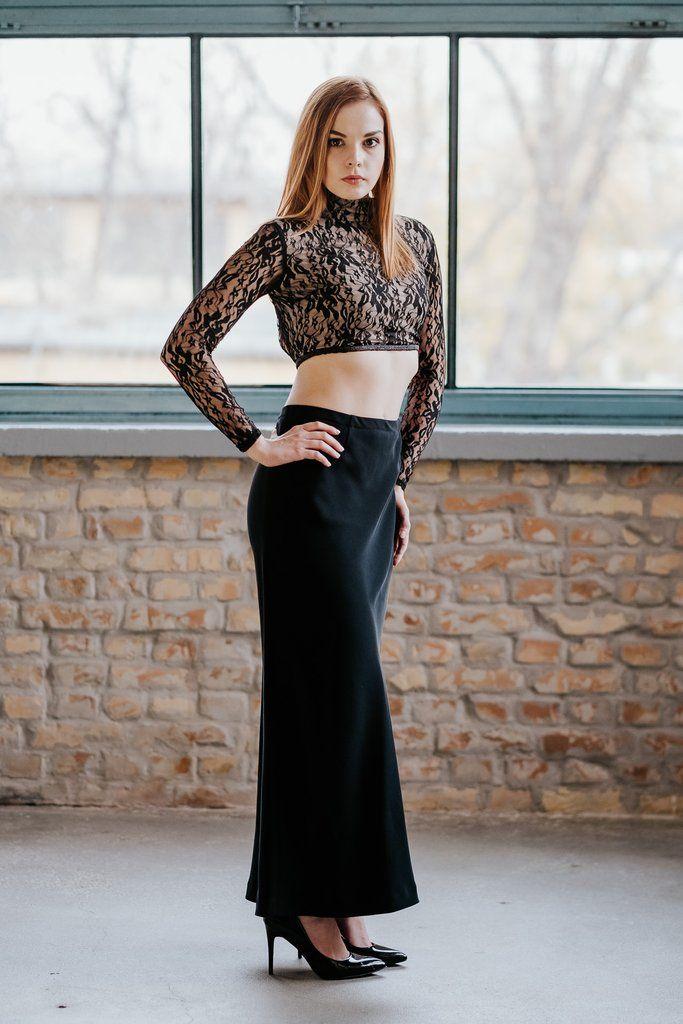 77834246e7 Open back black crop top Black long skirt SET in 2019 | Bare ...