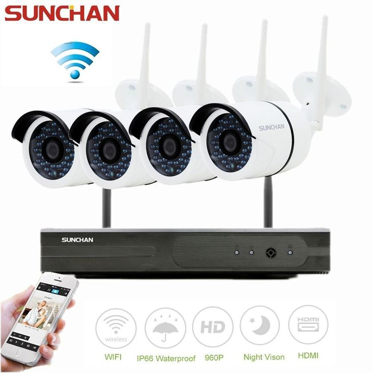 4CH Full HD Wifi NVR 960P Outdoor Network IP Cam Wireless Security Camera System #SUNCHAN