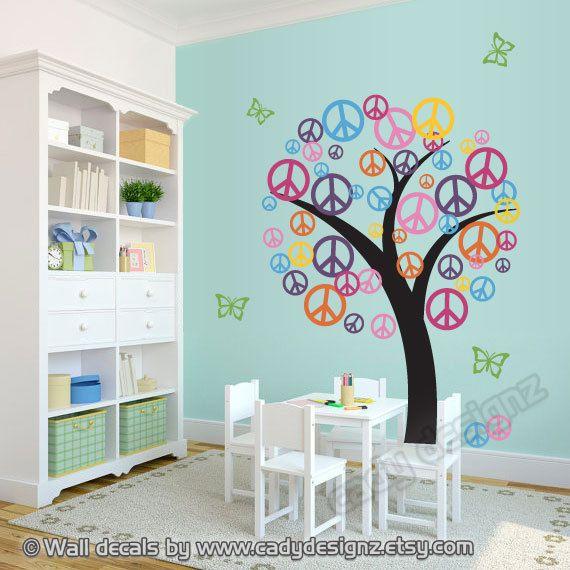 Peace Sign Vinyl Tree Decal - sale - Children Nursery Decor Wall Decal - Playroom Decal - Colorful Vinyl Tree - Peace Symbol - Teen Decor